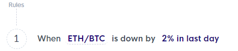 Crypto trading strategy - ETHBTC is down by 2 percent in last day