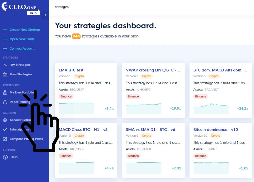 Trading strategies dashboard in CLEO.one