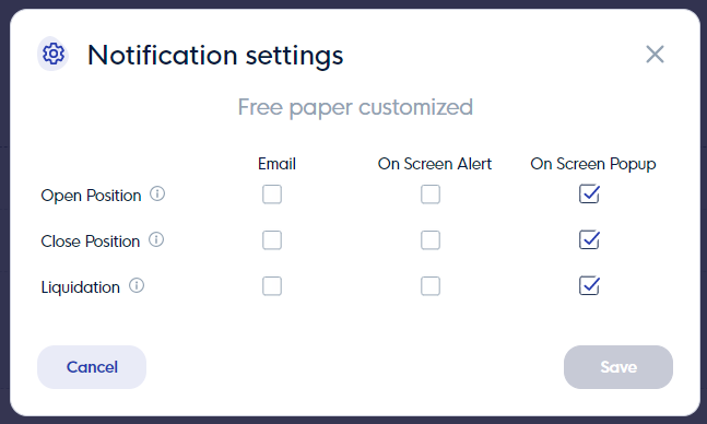 Notifications settings for paper traded strategies in CLEO.one