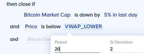 Close condition: BTC Market Cap is down by 5% and Price is below VWAP (lower band) set in CLEO.one
