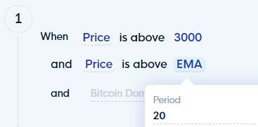 Rule no. 1: When BTC PRICE is above 3000 USDand Price is above EMA (20)
